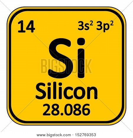 Periodic table element silicon icon on white background. Vector illustration.