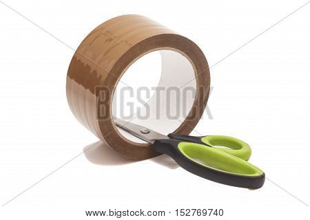 Scissors And Roll Of Duct Tape isolated on white