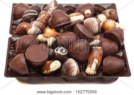 An assortment bonbons chocolate sweet candy mixed.