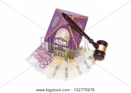 Home euro money and gavel isolated on white.Real estate concept