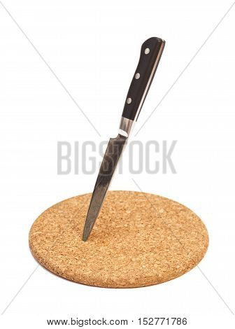 Breadboard with knife isolated on white background