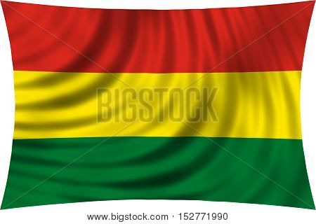 Bolivian national official flag. Patriotic symbol banner element background. Correct colors. Flag of Bolivia waving isolated on white 3d illustration