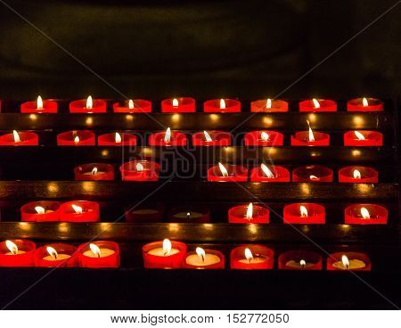 Votive Candles in an old Lisbon Church