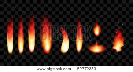Set of realistic flames on a black background.