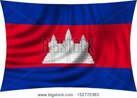Cambodian national official flag. Patriotic symbol banner element background. Correct colors. Flag of Cambodia waving isolated on white 3d illustration