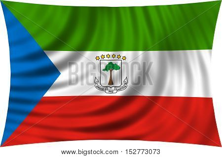 Equatorial Guinean national official flag. African patriotic symbol banner element background. Correct colors. Flag of Equatorial Guinea waving isolated on white 3d illustration