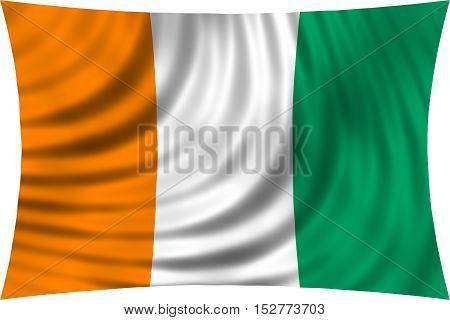 Cote D Ivoire national official flag. African patriotic symbol banner element background. Correct colors. Flag of Ivory Coast waving isolated on white 3d illustration