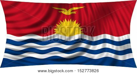 Kiribati national official flag. Patriotic symbol banner element background. Correct colors. Flag of Kiribati waving isolated on white 3d illustration