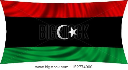Libyan national official flag. African patriotic symbol banner element background. Correct colors. Flag of Libya waving isolated on white 3d illustration