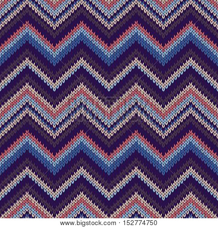 Seamless Ethnic Geometric Knitted Pattern. Style Red Pink Blue Background