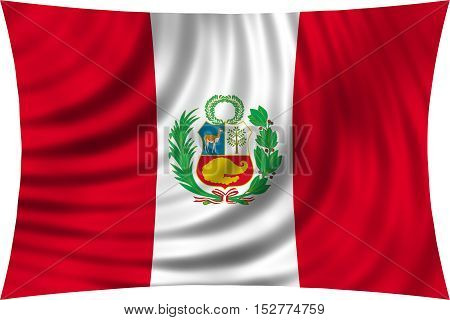 Peruvian national official flag. Patriotic symbol banner element background. Correct colors. Flag of Peru waving isolated on white 3d illustration