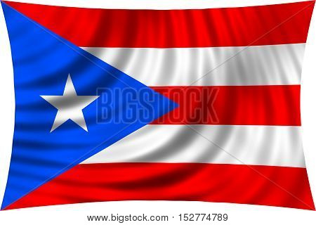 Puerto Rican national official flag. Patriotic symbol banner element background. Correct colors. Flag of Puerto Rico waving isolated on white 3d illustration