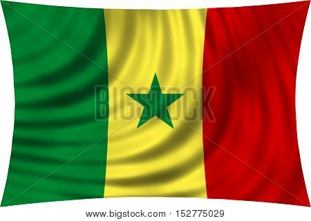 Senegalese national official flag. African patriotic symbol banner element background. Correct colors. Flag of Senegal waving isolated on white 3d illustration