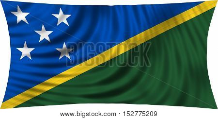 Solomon Island national official flag. Patriotic symbol banner element background. Correct colors. Flag of Solomon Islands waving isolated on white 3d illustration