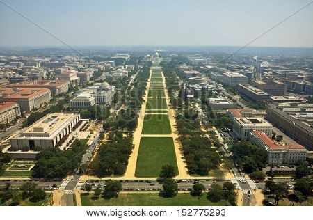 United States Capitol Building and National Mall, bird's eye viewed from the top of Washington Monument in Washington DC, USA.