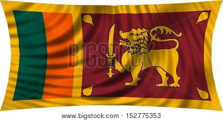 Sri Lankan national official flag. Patriotic symbol banner element background. Correct colors. Flag of Sri Lanka waving isolated on white 3d illustration