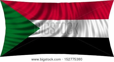 Sudanese national official flag. African patriotic symbol banner element background. Correct colors. Flag of Sudan waving isolated on white 3d illustration
