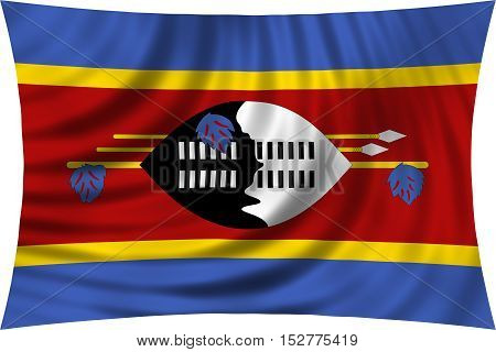 Swazi national official flag. Patriotic symbol banner element background. Correct colors. Flag of Swaziland waving isolated on white 3d illustration