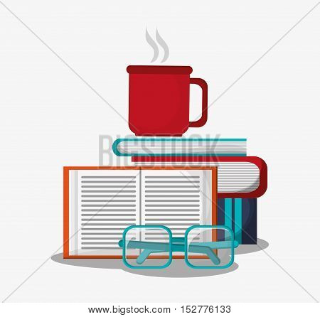 Coffee mug glasses and books icon. Education literature and library theme. Colorful design. Vector illustration