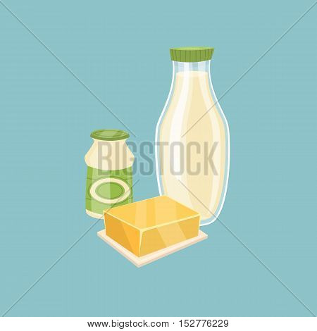 Assortment of dairy products isolated vector illustration. Nutritious and healthy milk products. Natural and healthy food. Organic farmers products. Organic food and dairy product concept. Milk product icon. Cartoon dairy product. Dairy icon.