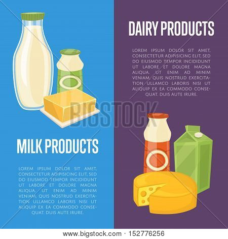 Dairy products vertical flyers with milk composition isolated on color background vector illustrations. Nutritious and healthy products. Organic farmers food. Organic food and dairy product concept. Milk product icon. Cartoon dairy product. Dairy icon.