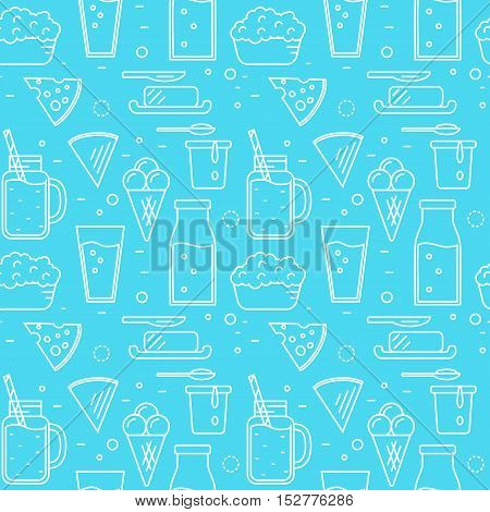 Dairy product seamless pattern for packaging with different dairy icons in line style design on blue background, vector illustration. Organic farming. Nutritious and healthy milk products background. Organic food and dairy product concept. Dairy