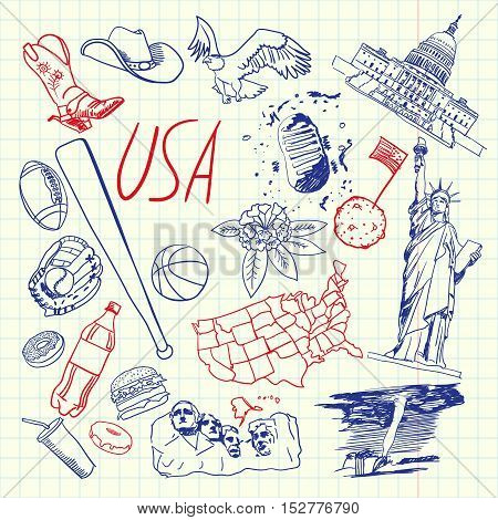 United States of America national symbol. American cultural, culinary, sportive, historical, architectural, animal, scientific related doodle drawn on squared paper vector set. Sketched with pen icons