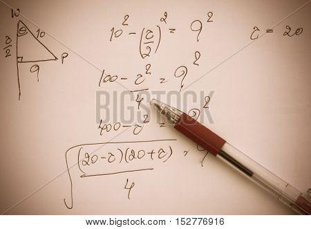 pen on advanced mathematics (maths) in vintage style
