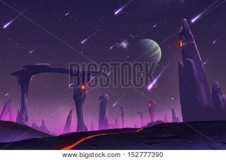 Fantastic and Exotic Allen Planet's Environment: Stone Pillars. Video Game's Digital CG Artwork, Concept Illustration, Realistic Cartoon Style Background