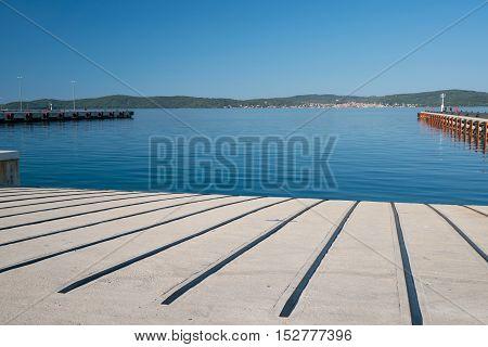 dock at the ferry portGazenica port in Zadar, Croatia.