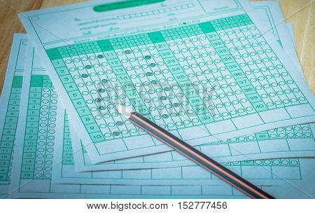 answer sheet test score sheet with answers in thai education