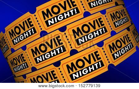 Movie Night Tickets Showtime Cinema Theater Film 3d Illustration