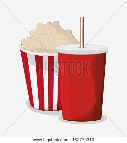 Pop corn and soda icon. Fast food menu and market theme. Colorful design. Vector illustration