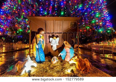 SYRACUSE NY - DECEMBER 26 2015: A traditional nativity scene takes center place under the outdoor Christmas tree on Clinton Square in this upstate NY city.