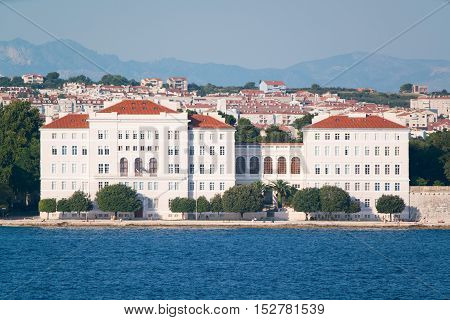 view from the sea to the old city of Zadar, Croatia.