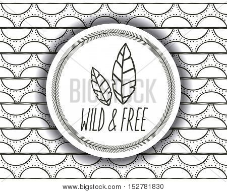 boho and feather inside circle icon. Bohemic ornament indian and decoration theme. Abstract background. Black and white design. Vector illustration