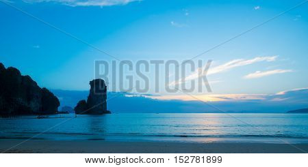 The beach with amazing view of huge rock