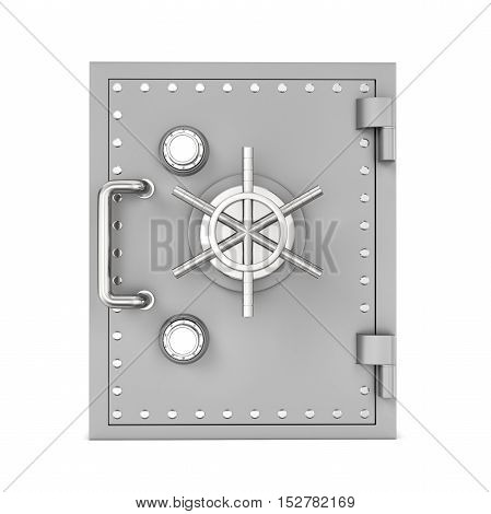 3d rendering of steel safe box placed in front of a viewer isolated on white background. Keeping money. Safety and security. Bulletproof.