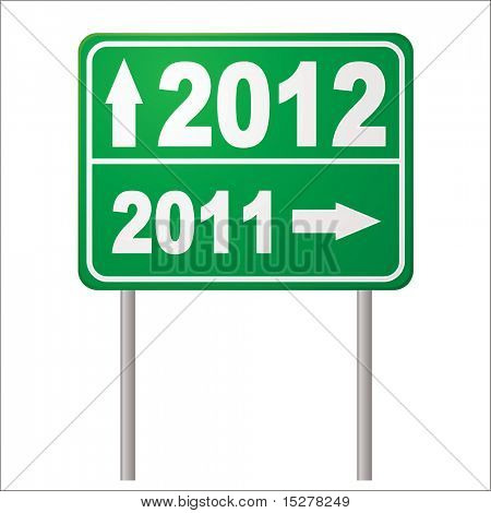 Two thousand and twelve road sign to show in the new year in green