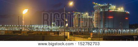 The LNG terminal , tanks of liquefied gas,Swinoujscie,Poland