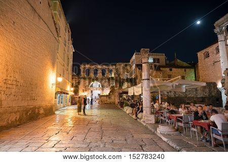 Split, Croatia - July 20, 2016: restaurants near Diocletian Palace at night