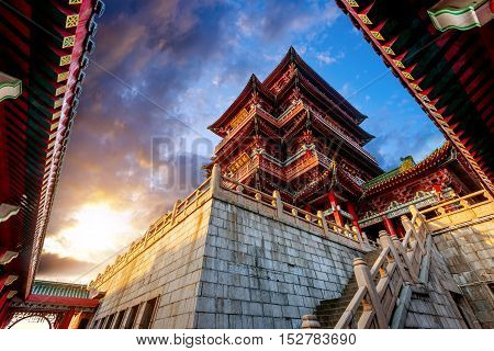 Dusk Chinese ancient buildings under the sky background (Nanchang Poetic)