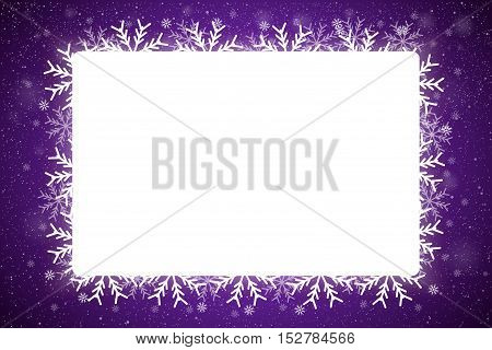 Vector Rectangle White Frame Snowflake. Falling Snow. Violet Winter Frame Background. Winter Snowfall. Holidays New Year and Merry Christmas.