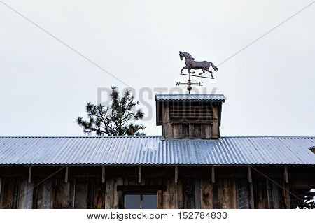 A horse weather vane sitting on top of an old building.