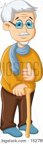 cute a old man cartoon thumb up