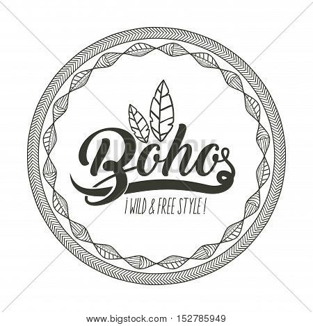 boho and feather inside circle icon. Bohemic ornament indian and decoration theme. Black and white design. Vector illustration