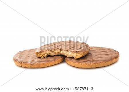 Chocolate chip cookies dessert on white background