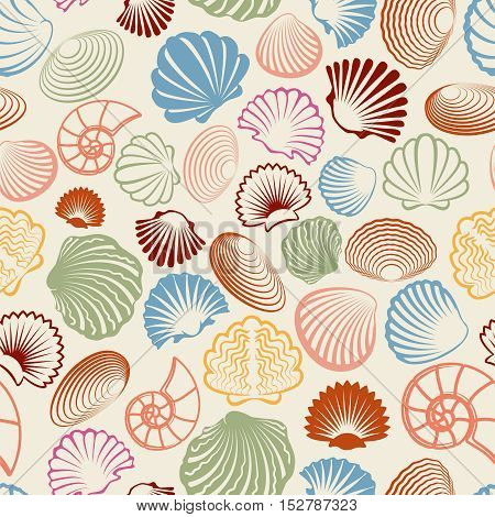 Sea seamless pattern with colorful sea shells. Vector illustration