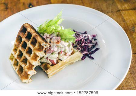 Savory waffles with salad