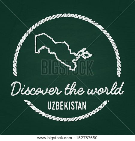 White Chalk Texture Hipster Insignia With Republic Of Uzbekistan Map On A Green Blackboard. Grunge R